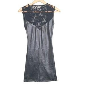 Espiral Sexy Black Pleather & Lace Mini Dress
